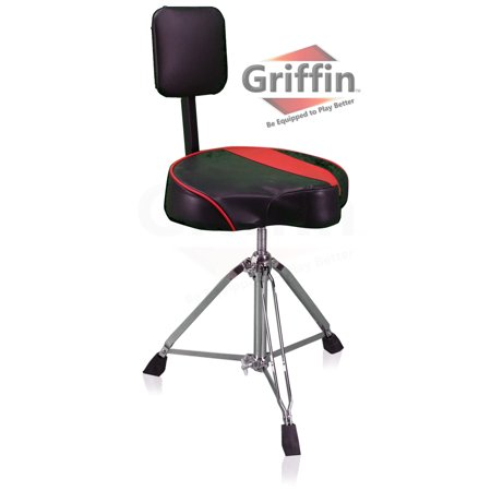Double Braced Tripod Drum Throne - Saddle Drum Throne with Back Rest Support by Griffin Padded Leather Drummer Seat Motorcycle Style Chair Swivel Adjustable Height Drum Chair for Adults Percussion Stool with Double Braced Hardware
