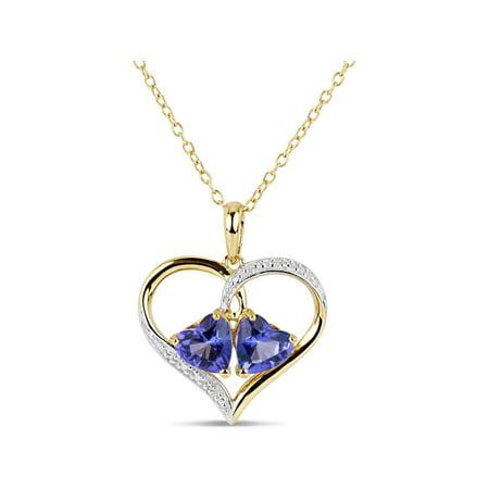Violac Purple Topaz and Round White Topaz Swarovski Genuine Gemstone 18kt Gold Over Sterling Silver Heart Pendant, 18
