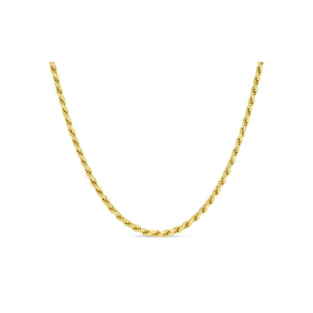 18k Gold Over Mens Rope 120 Gauge Chain Necklace 22 Inches
