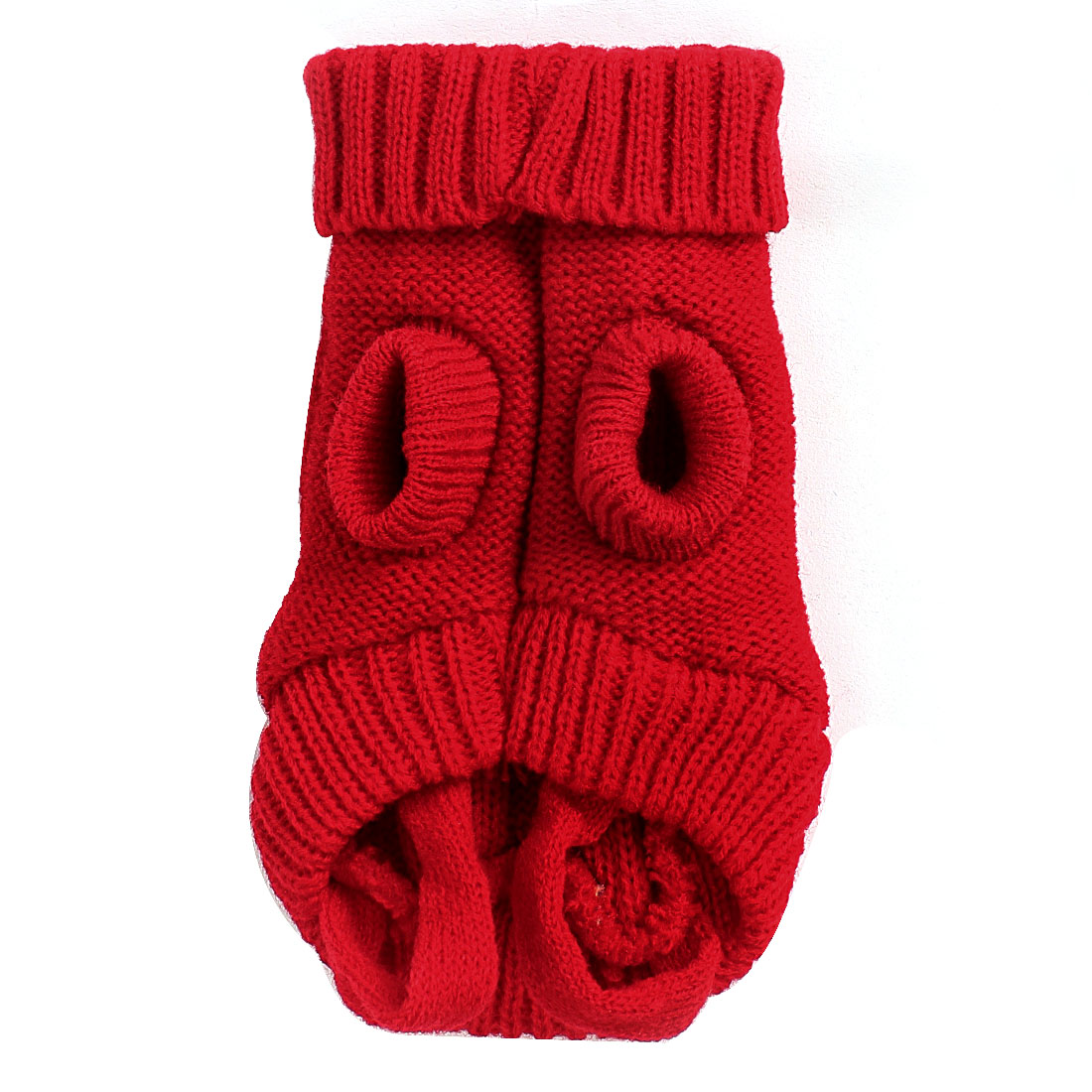 Unique Bargains Winter Warm Red Cable Knit Turtleneck Pet Dog Puppy Clothing Sweater Size XS