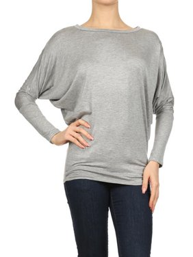 Women's Trendy Style Dolman Long Sleeves Solid Top