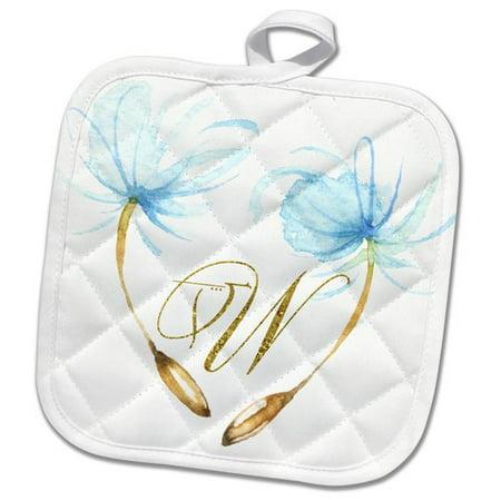 3dRose Pretty Water Dandelion Wishes Monogram W Design Pot Holder