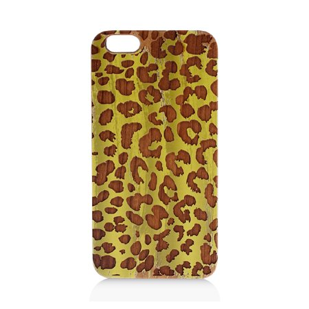 Cheetah Laser Engraved Paint Laser Engraved And Uv Printed Cherry Wood Cellphone Case For Iphone 6 6S