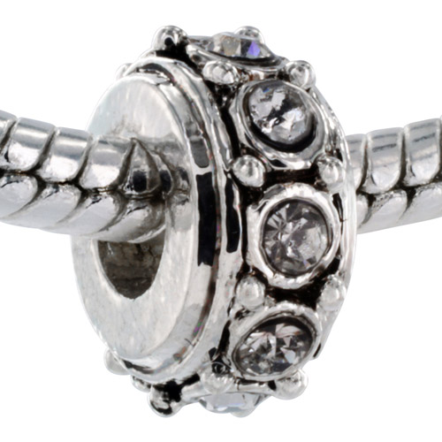 Pacific Charms Silver-Tone Crystal Bead, Rondelle with Clear Crystals