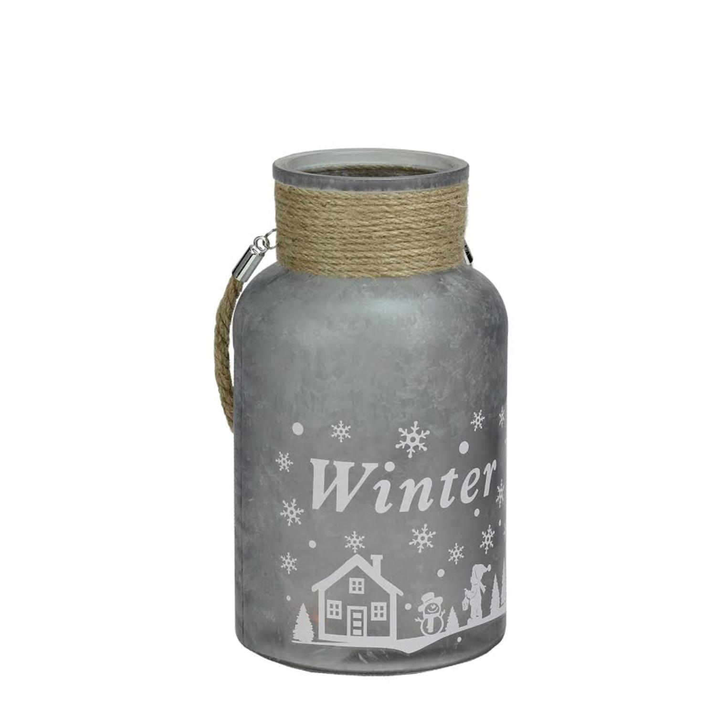 """10"""" Argent blanc glacé Scène d'hiver de décoration de Noël pilier Bougeoir Lanterne avec poignée - image 2 de 2"""