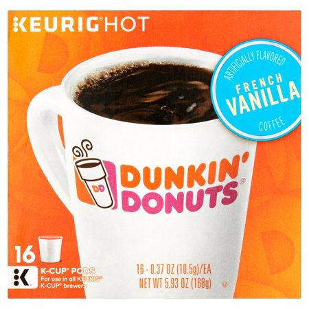 (4 Pack) Keurig Hot Dunkin' Donuts French Vanilla K-Cup Pods Coffee, 0.37 oz, 16