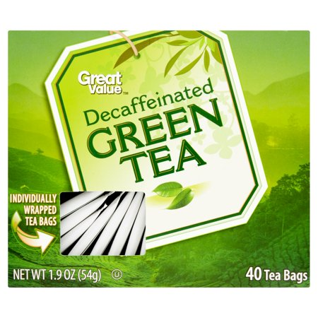(4 Boxes) Great Value Decaf Green Tea Bags, 1.9 oz, 40 Count