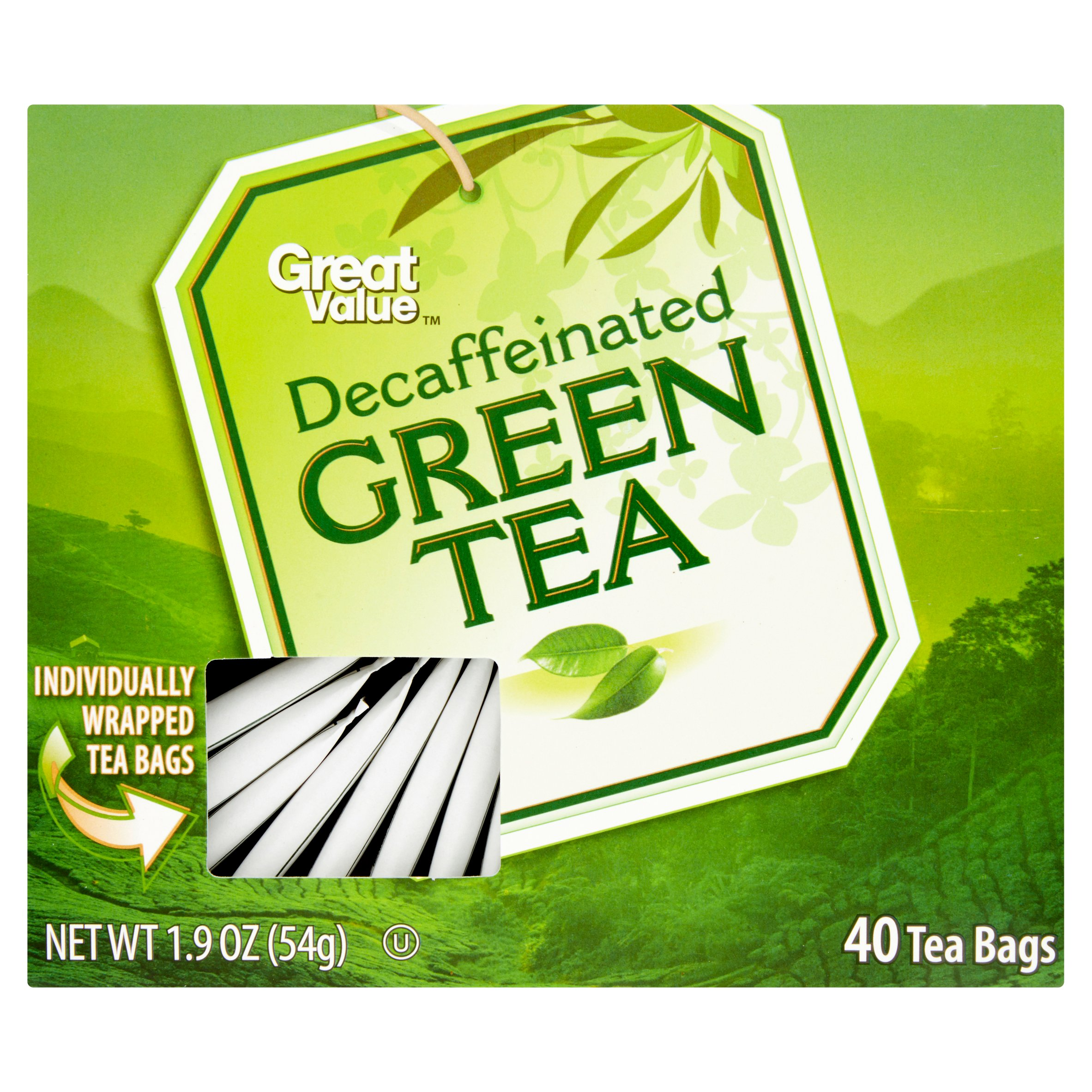 Great Value Decaf Green Tea Bags, 1.9 oz, 40 Count