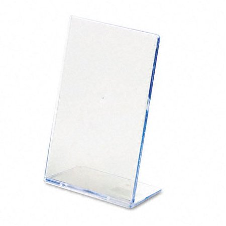 Desk Sign Holders - Slanted Desk Sign Holder, Plastic, 4 x 6, Clear, Desktop clear plastic sign holder. By deflecto Ship from US