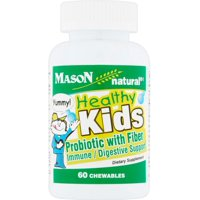 2 Pack - Mason Natural Healthy Kids Probiotic with Fiber Immune/Digestive Support Chewable Tablets 60 ea