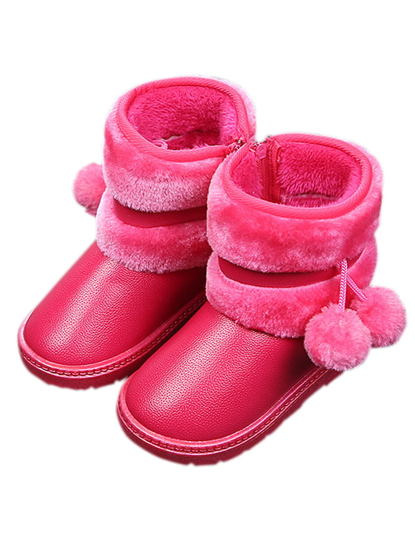 Toddler Kids Boys Girls Snow Ankle Boots Winter Warm Fur Lined Waterproof Shoes