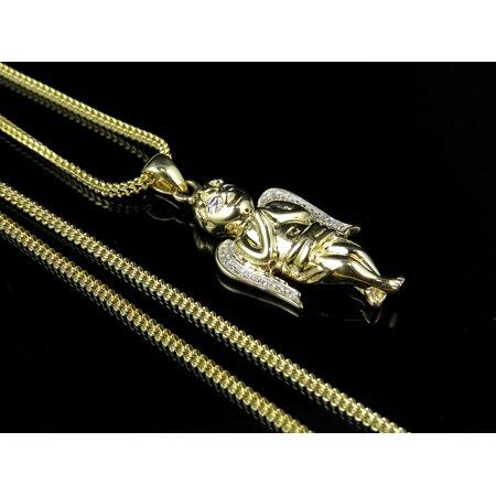 "10K Yellow Gold Real Diamond Praying Angel Pendant 1.25"" Chain Set .10ct"
