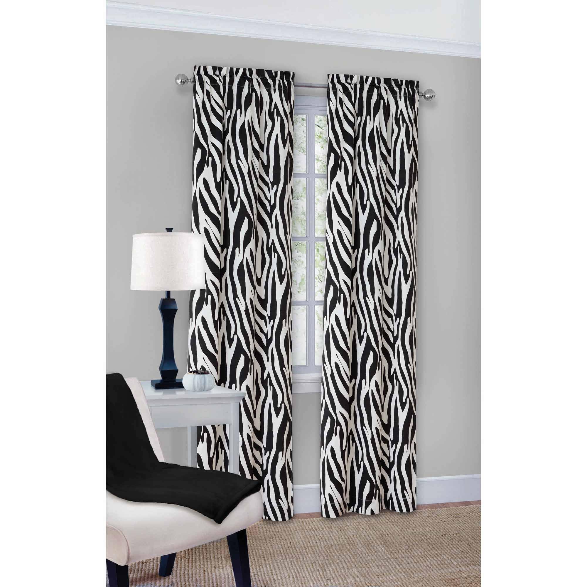 Mainstays Zebra Fashion Window Curtain Panels, Set of 2