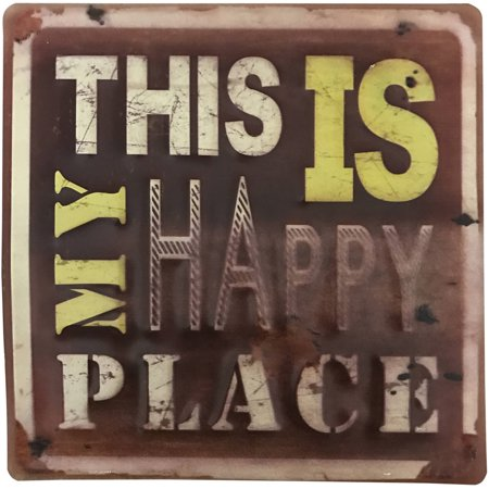 Inspirational Metal Sign, This is My Happy Place. Great for Home, Office, Dorm, Shop, Event Decor. Product Size: 11.75x 11.75 x0.1 ()