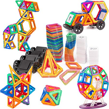 Magnet Tiles Building Block. Cossy 115 PCs Magnetic Stick and Stack Set for girls and boys. Perfect STEM Educational Toys for Kids (Educational Stack Toy)