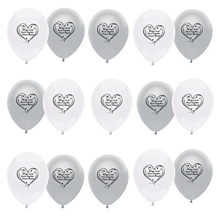 Funeral Remembrance Balloons 15 White and Silver Always Loved, Never Forgotten, Always Missed. 12 inch Made in USA