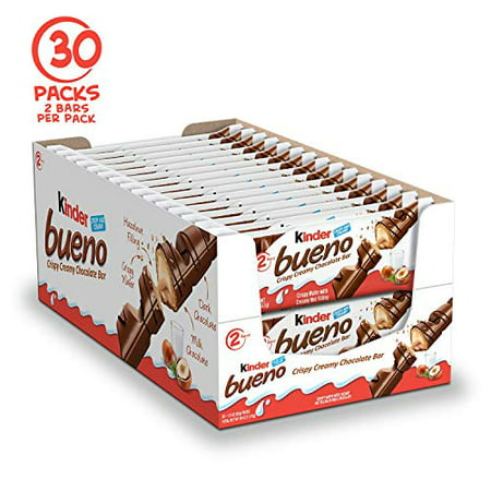 Kinder Bueno Milk Chocolate and Hazelnut Cream Candy Bar, 30 Packs, 2 Individually Wrapped Bars Per Pack Kinder Bueno Candy