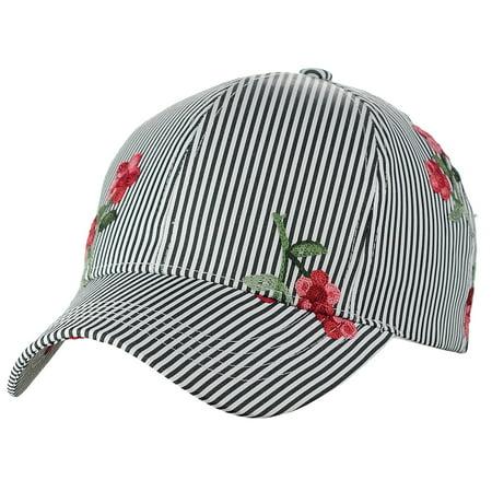 C.C Poplin Pinstripe Print Embroidered Flower Adjustable Baseball Cap, Black