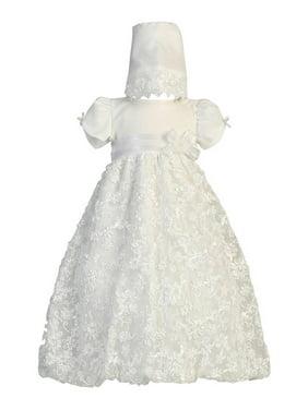 Baby Girls White Embroidered Satin Ribbon Tulle Dress Bonnet Baptism 0-18M