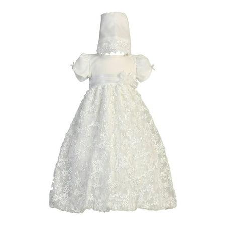 Embroidered Tulle Dress (Baby Girls White Embroidered Satin Ribbon Tulle Dress Bonnet Baptism 0-18M )