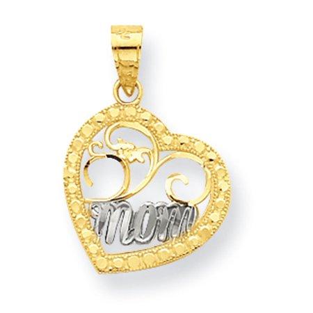 10K Yellow Gold & Rhodium Mom Heart Charm