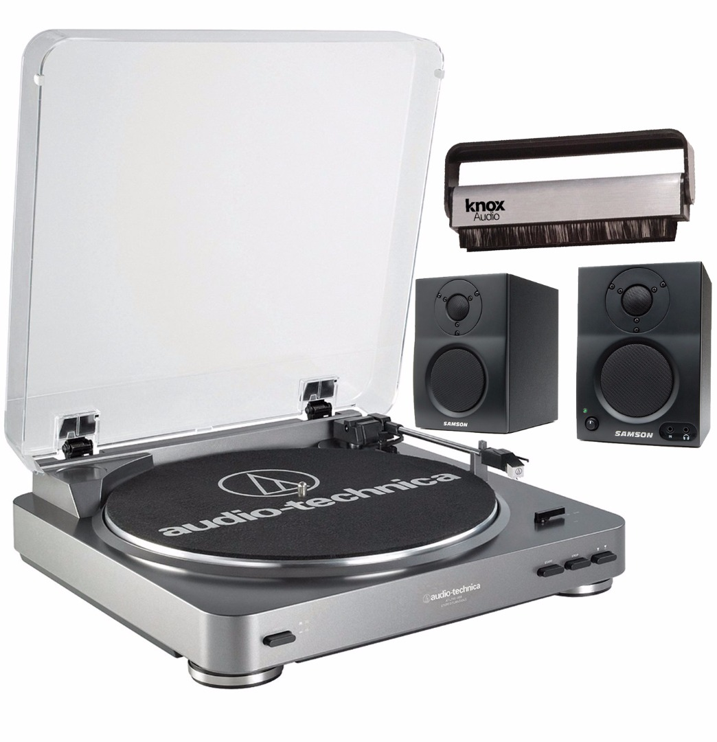 Audio-Technica AT-LP60-USB Turntable w  Samson SAMBT3 2-way Bluetooth Monitors by Audio-Technica