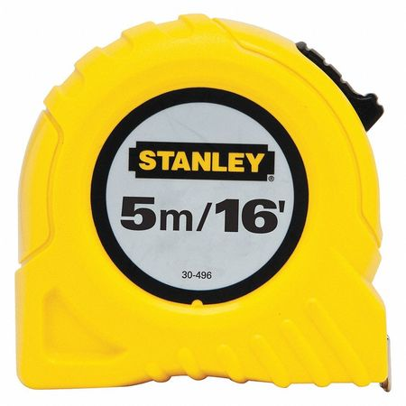 STANLEY Tape Measure,3/4Inx16 ft,Yellow,In/Ft/mm 30-496