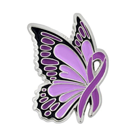 PinMart's Domestic Violence Awareness Butterfly Purple Ribbon Enamel Lapel Pin