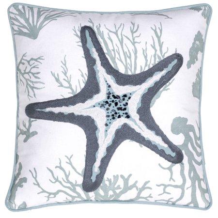 - 14 Karat Home Inc. Starfish Crewel Stitch Cotton Throw Pillow