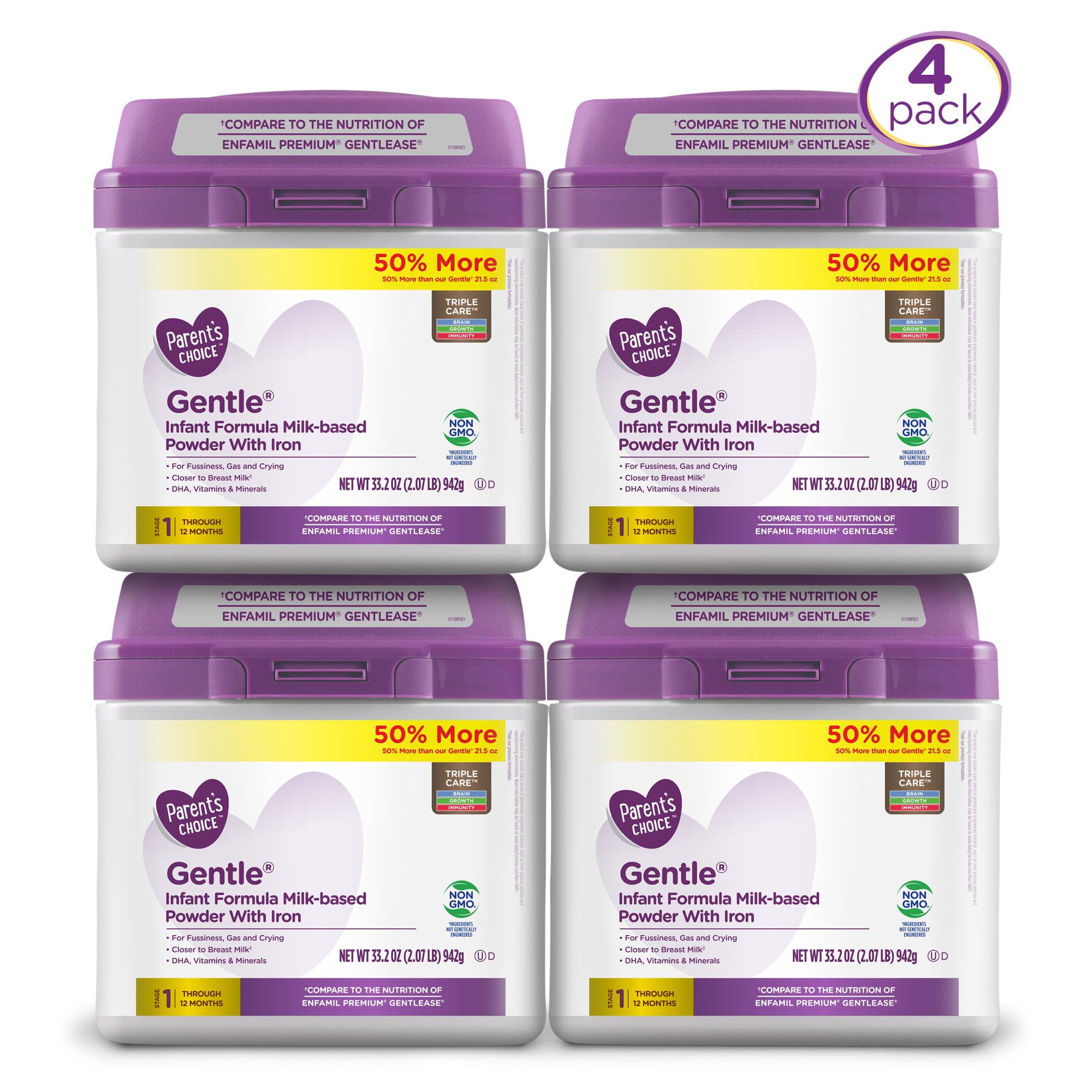 Parent's Choice Non-GMO Premium Gentle Infant Formula with Iron, 4 Pack, 33.2 oz each