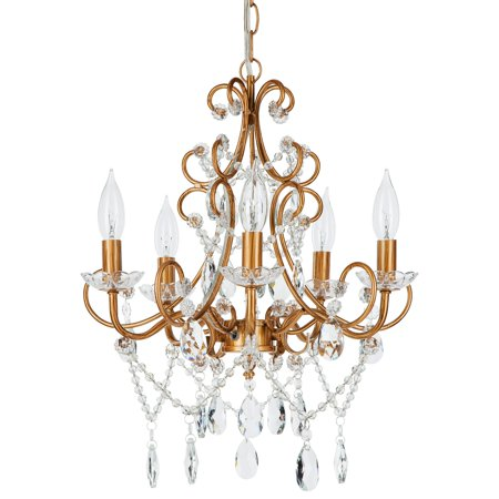 Amalfi Décor 5 Light Classic Crystal Plug-In Chandelier (Gold) | Wrought Iron Frame with Glass Crystals