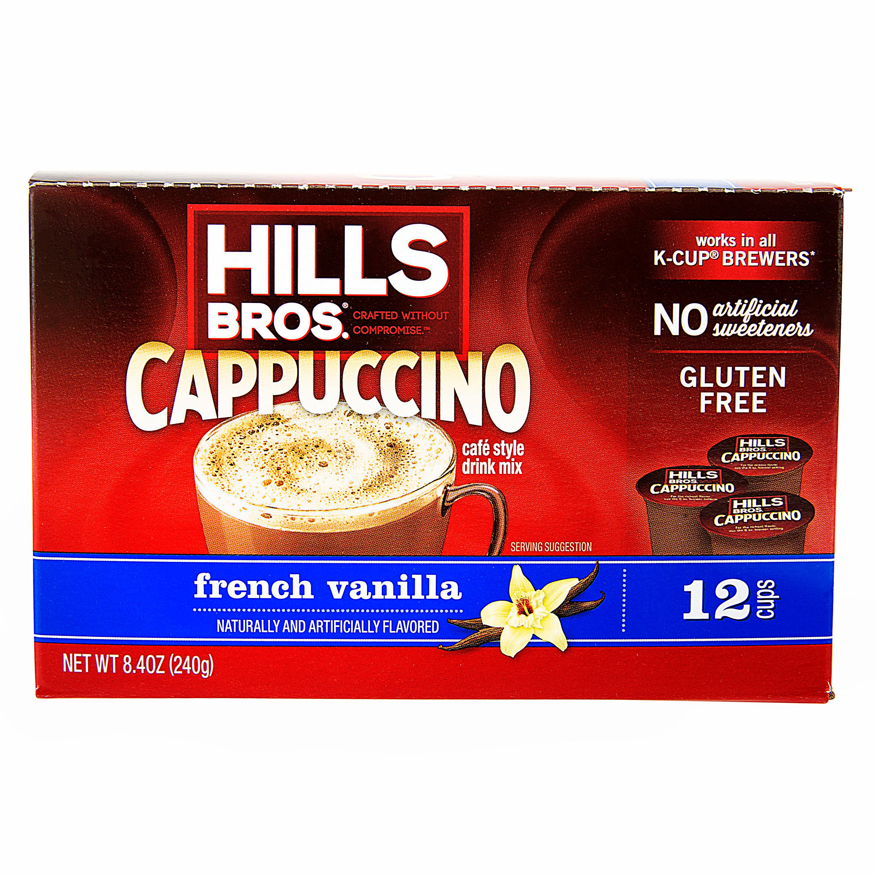 Hills Bros. French Vanilla Cappuccino Single Serve K-Cups, 12 Count Box