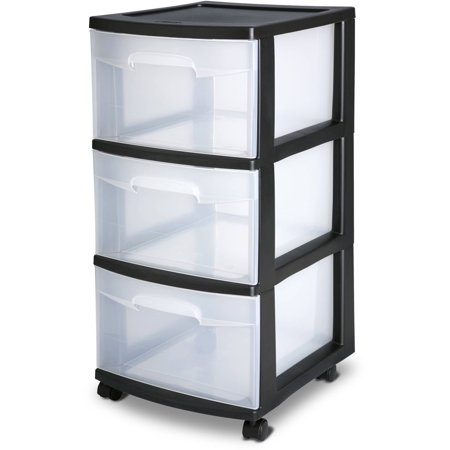 Sterilite 3 Drawer Cart Black Case of 2