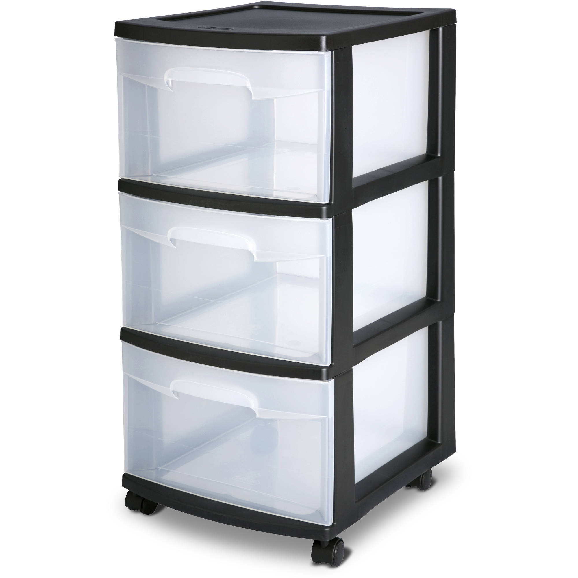 Sterilite 3 Drawer Cart- Black (Available in Case of 2 or Single Unit)