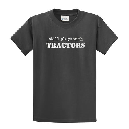 Tan Graphic Tee Shirt (Still Plays With Tractors T-Shirt Funny )