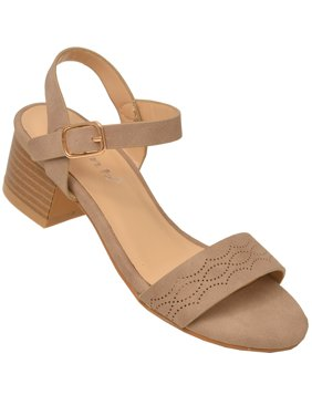 Girls Taupe Open Toe Buckled Ankle Strap Low Block Heel Sandals