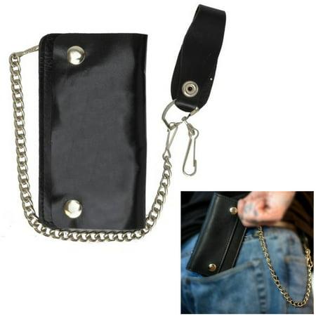 1 X Black Genuine Leather Men Wallet Bifold Metal Chain Biker Trucker Motorcycle Baker Bi Fold Wallet