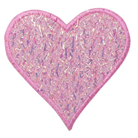 Pink Heart - Confetti Shimmery - Iron On Applique/ Embroidered Patch - Embroidered Heart