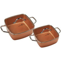 "Copper Chef 8"" /11"" Deep Dish Pan 4 Pc Set"
