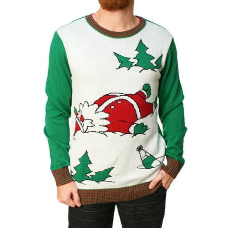 ugly christmas sweater mens drunk santa snow angel holiday sweater - Ugly Christmas Sweaters At Walmart