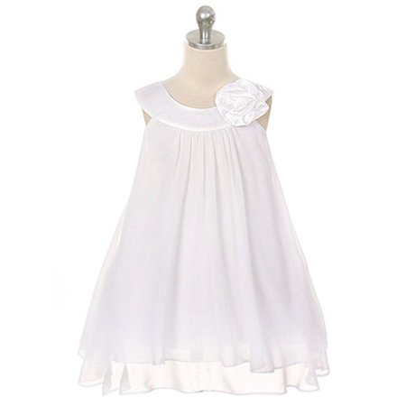 Little Girls White Chiffon A Line Flower Girl Dress 2](Little Girls White Dresses)
