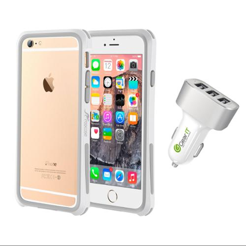 iPhone 6 Case Bundle (Case + Charger), roocase iPhone 6 4.7 Linear Bumper Open Back with Corner Edge Protection Case Cover with White 5.1A Car Charger for Apple iPhone 6 4.7-inch, White
