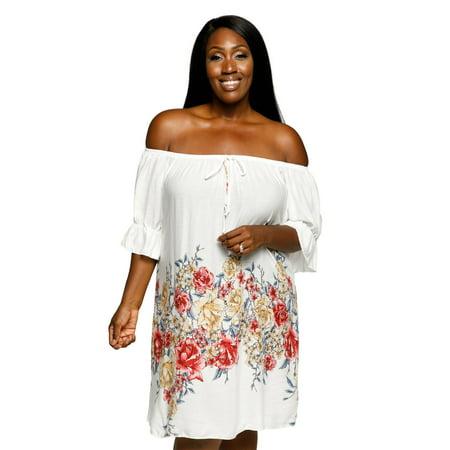 49ac6b9367 Xehar - Xehar Women s Plus Size Off Shoulder Boho Ruffle Floral Summer Dress  - Walmart.com