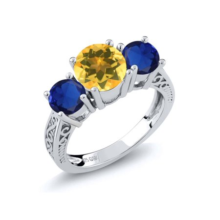 2.50 Ct Yellow Citrine Blue Simulated Sapphire 925 Sterling Silver 3-Stone Ring - image 4 of 4