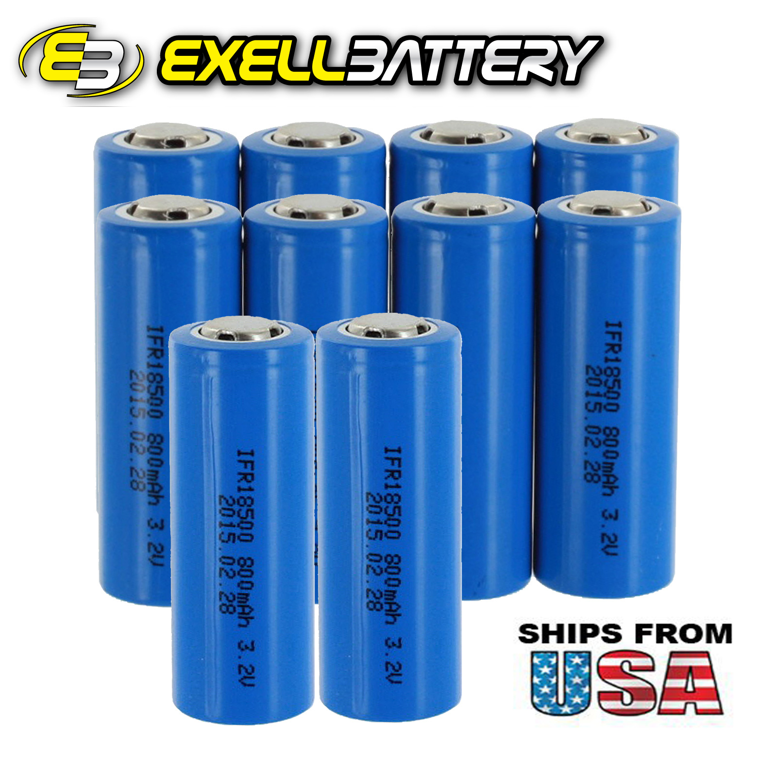 10PC Exell Li-FePO4 Size 18500 Rechargeable Battery 3.2V ...