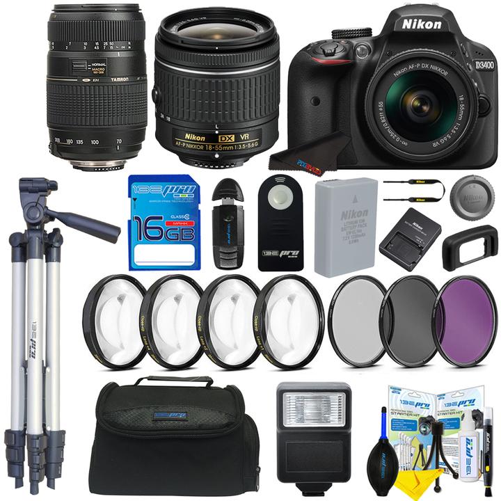 Nikon D3400 + Nikon 18-55mm Lens + Tamrom 70-300mm lens + Pixi Basic Kit