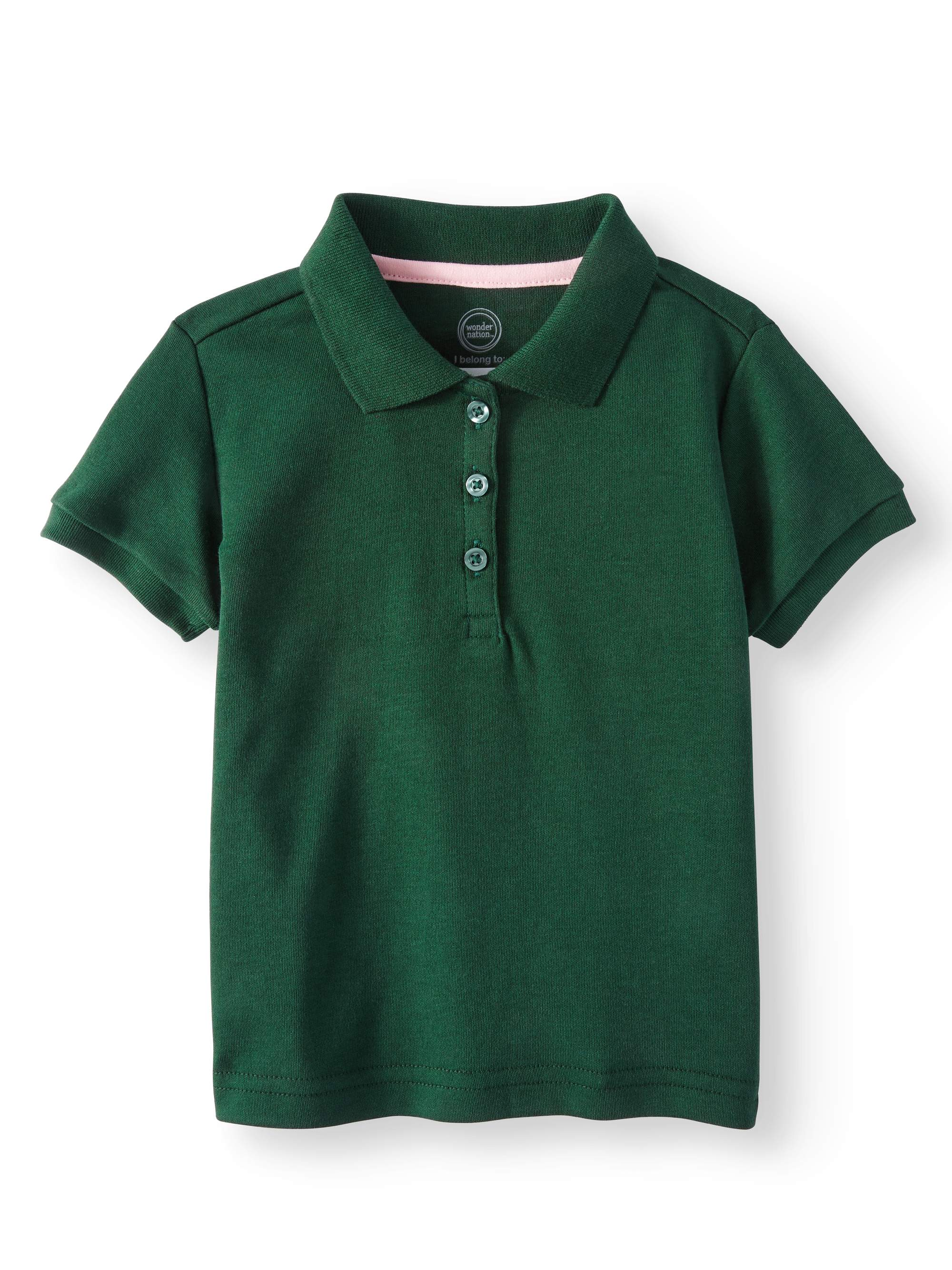 Toddler Girls School Uniform Short Sleeve Interlock Polo