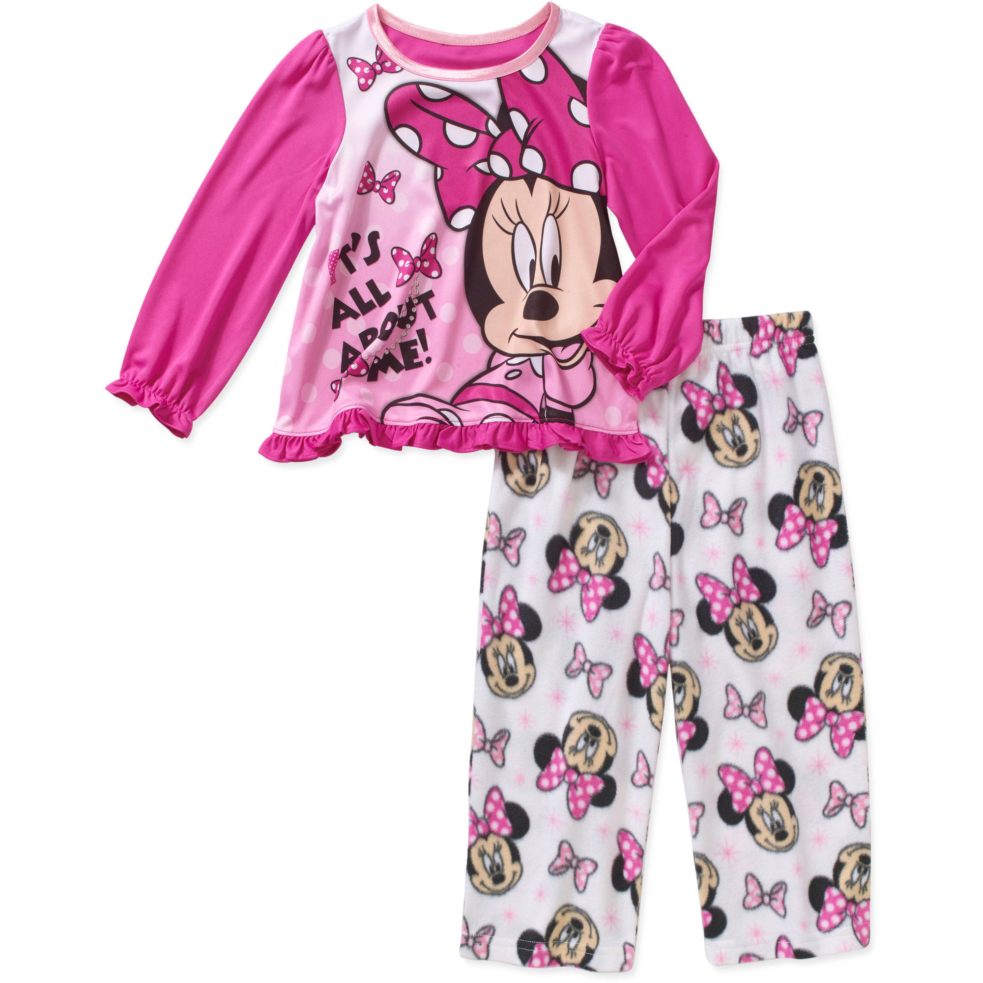 Minnie Mouse Toddler Girl Long Sleeve Top with Fleece Pants Pajama 2pc Set