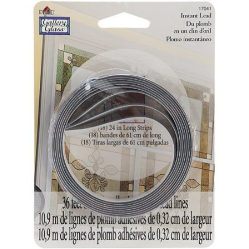 "Plaid:Craft Gallery Glass Instant Lead Lines 24"", Black 1/8"" Thick, 8/Packaging"