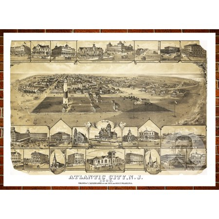 Ted's Vintage Art Map of Atlantic City, NJ 1880; Old New Jersey Decor 24